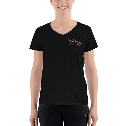 In love with life by In love with life, short sleeve/ shirt v-neck, ladies black with logo