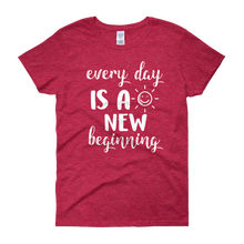Every day is a new beginning by in love with life, cherry red short sleeve ladies