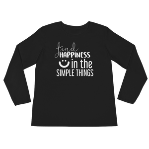 Find happiness in the simple things by in love with life, black long sleeve ladies front