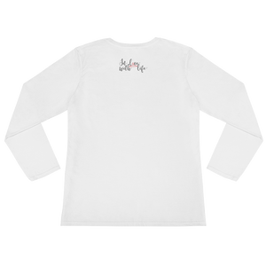 Smile cause you deserve to be happy by in love with life, white long sleeve ladies back