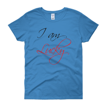 I am lucky by in love with life, sapphire blue short sleeve ladies