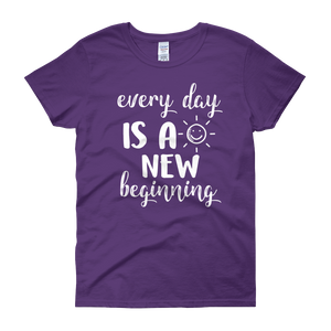 Every day is a new beginning by in love with life, purple short sleeve ladies