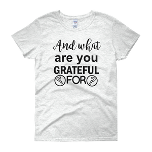 And what are you grateful for? by in love with life, white short sleeve ladies