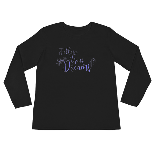 Follow your dreams by in love with life, black long sleeve ladies front