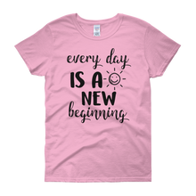 Every day is a new beginning by in love with life, light pink rosa short sleeve ladies