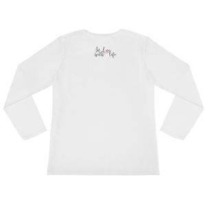 I am lucky by in love with life, white long sleeve ladies back