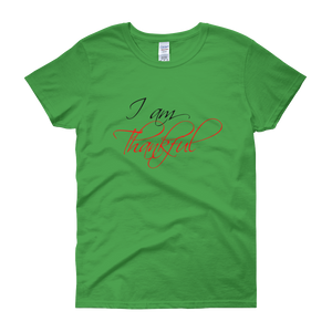 I am thankful by in love with life, green short sleeve ladies
