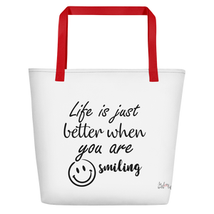Life is just better when you are smiling by In love with life , bag red handle