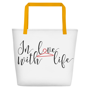 In love with life by in love with life, white bag, black/red writing, yellow handle