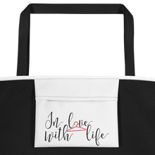 In love with life by in love with life, white bag, black/red writing, black handle, inside pocket