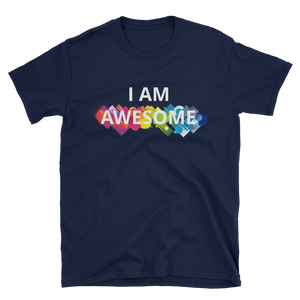 I am awesome by in love with life, navy blue short sleeve gentleman