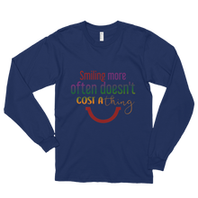 Smiling more often doesn't cost a thing by in love with life, navy blue long sleeve gentleman