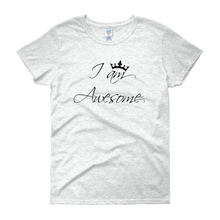 I am awesome by in love with life, ash white short sleeve ladies