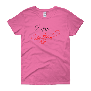 I am grateful by in love with life, pink rosa short sleeve ladies