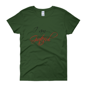I am grateful by in love with life, forest green short sleeve ladies