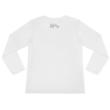 Smiling more often doesn't cost a thing by in love with life, white long sleeve ladies back