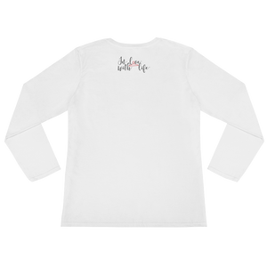 I am happy cause I am a happy person by in love with life, white long sleeve ladies back