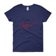 I am grateful by in love with life, cobalt blue short sleeve ladies