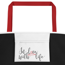 Life is just better when you are smiling by In love with life , bag red handle, inside pocket