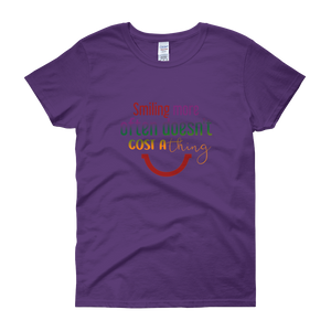 Smiling more often doesn't cost a thing by in love with life, purple short sleeve ladies