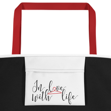 In love with life by in love with life, white bag, black/red writing, red handle, inside pocket