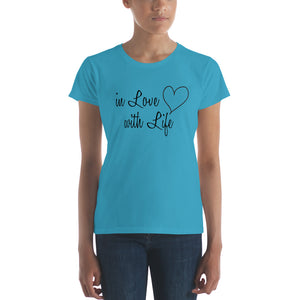 In love with life by in love with life, ladies Caribbean blue short sleeve, black writing