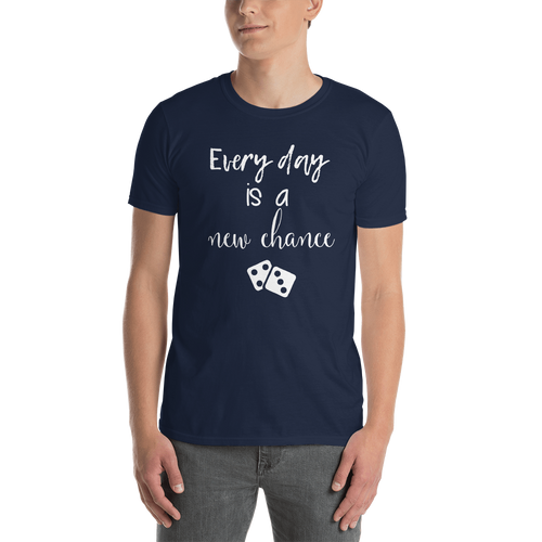 Every day is a new chance by In love with life, short sleeve shirt gentlemen, white writing navy shirt