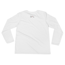 I smile because I can by in love with life, ladies white long sleeve, black writing back