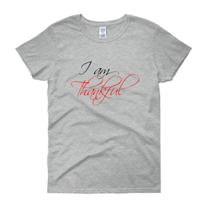 I am thankful by in love with life, grey short sleeve ladies