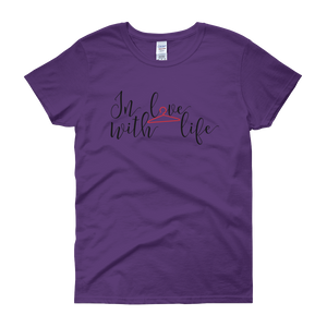 In love with life by in love with life, purple short sleeve ladies