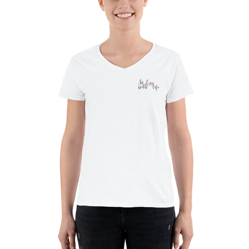 In love with life by In love with life, short sleeve/ shirt v-neck, ladies white with logo