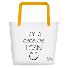 I smile because I can by in love with life, white bag, black writing, yellow handle