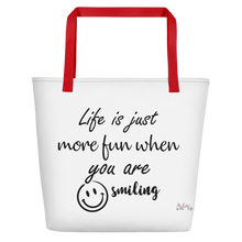 Life is just more fun when you are smiling by In love with life, bag, red handle