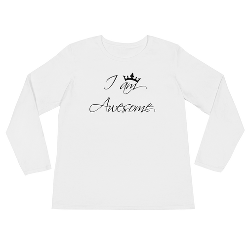 I am awesome by in love with life, white long sleeve ladies front