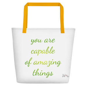 You are capable of amazing things by in love with life, white bag, yellow handle, green/yellow writing