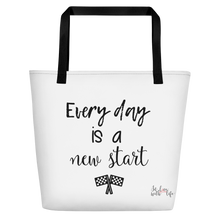 Every day is a new start by in love with life, white bag, black writing, black handle