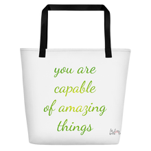 positive thinking, positive affirmations, printed beach bag