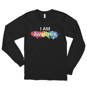 I am awesome by in love with life, black long sleeve gentleman