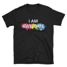 I am awesome by in love with life, black short sleeve gentleman