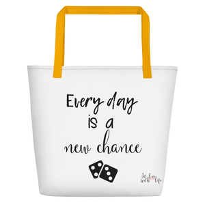 Every day is a new chance by in love with life, white bag, black writing, yellow handle