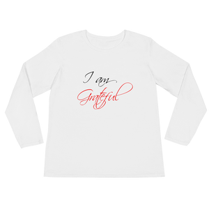 I am grateful by in love with life, white long sleeve ladies front