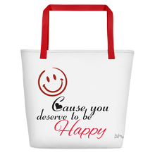 Smile cause you deserve to be happy by in love with life, white bag, black/red writing, red handle