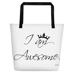I am awesome by in love with life, white bag, black writing, black handle