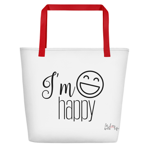 I'm happy by in love with life, bag, red handle