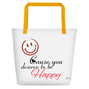 Smile cause you deserve to be happy by in love with life, white bag, black/red writing, yellow handle