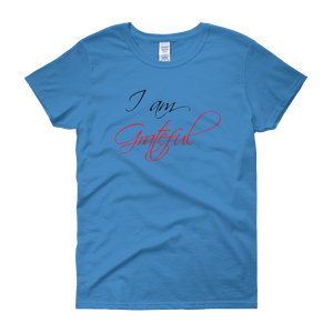 I am grateful by in love with life, sapphire blue short sleeve ladies