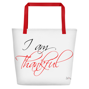 I am thankful by in love with life, white bag, black/red writing, red handle