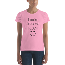 I smile because I can by in love with life, ladies shirt light pink, rosa, black writing