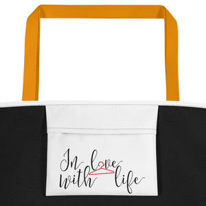 In love with life by in love with life, white bag, black/red writing, yellow handle, inside pocket