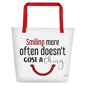 Smiling more often doesn't cost a thing by in love with life, white bag, black/ red writing, red handle